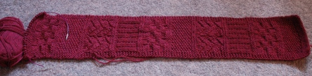 This was started in 2010 for a sampler scarf pattern for my first Learn to Knit class I teach. I forgot I still had this in progress (and hey! there's one of my circular cords I'm missing)! I don't hand out this pattern anymore in those classes, so I shall frog this one.
