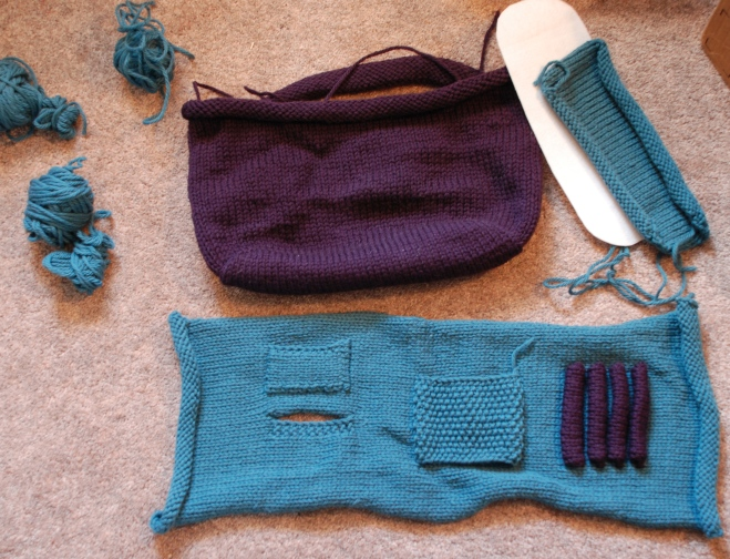 This was from one of my first orders from Knit Picks, around 2008. It was also before my enlightenment of Check Your Gauge and Knitting + Assembly + Sewing = Potentially Hard Project. This will someday be a tote bag to hold a little knitting project and has lotsa pockets. It's been sadly stuffed way down in a cubby with yarn over it!