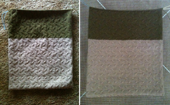 Photos aren't in proportion,  but the left is before blocking and the right is after.