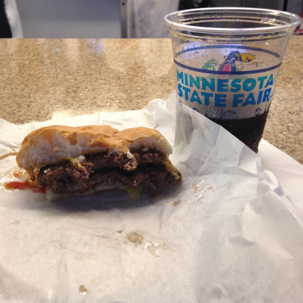 Ooooohhh yeahh, a double cheese burger. And Pepsi.